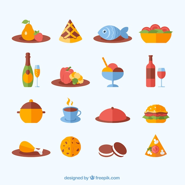 Variety Of Food Icons Vector Free Download