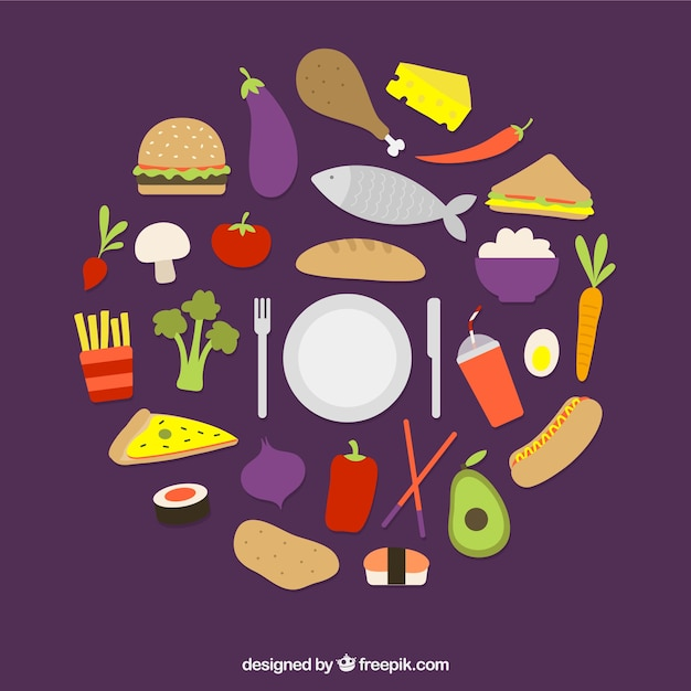 Variety Of Food Vector Free Download