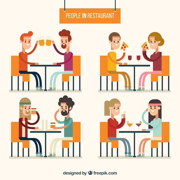 Variety of friends in a restaurant