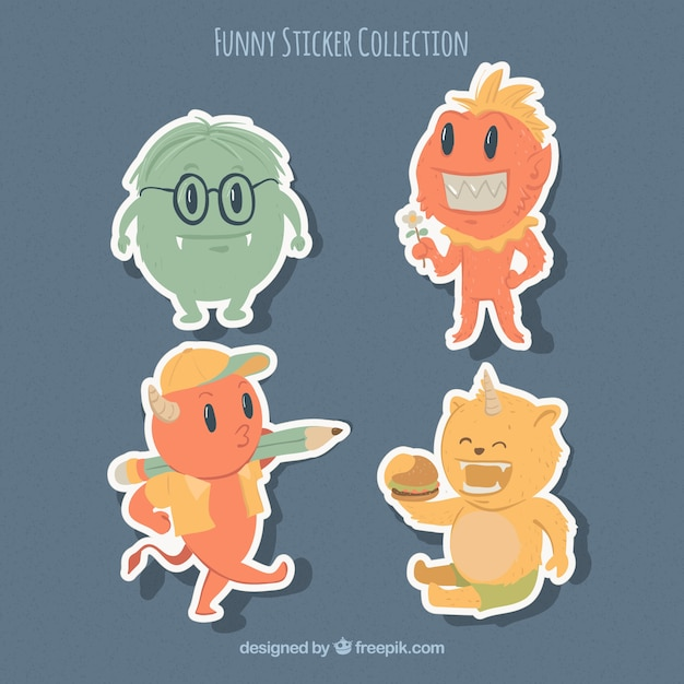 Variety of funny monsters stickers
