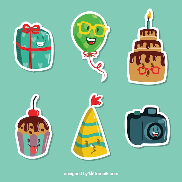Variety of funny party stickers