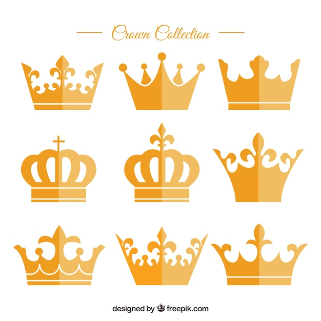 Variety of golden crowns in flat design Free Vector