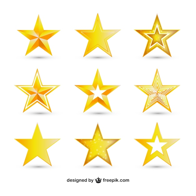 variety of golden stars vector free download
