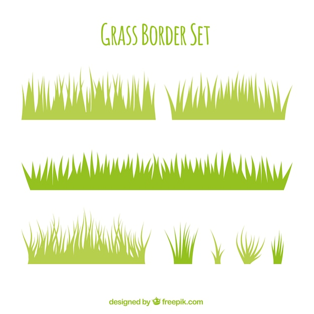 Variety of grass borders in flat design vector free download for Ornamental grass border design