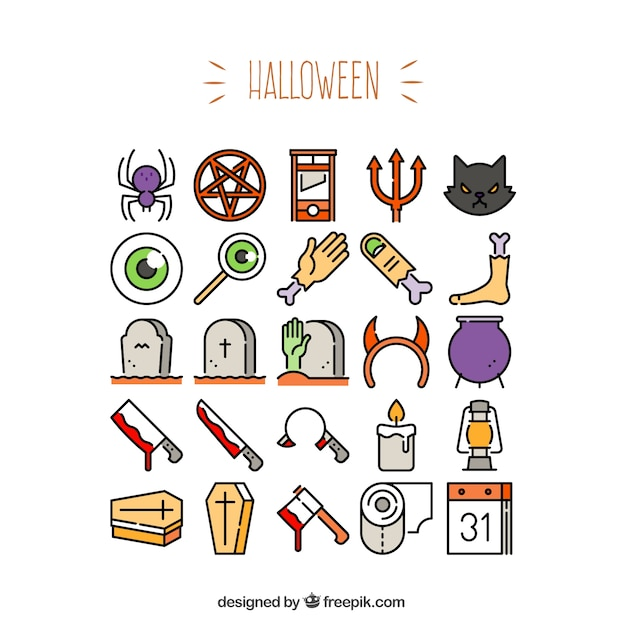 Variety of halloween icons Vector | Free Download