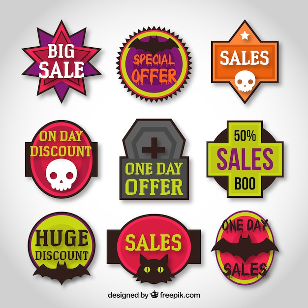 Variety of halloween labels Free Vector