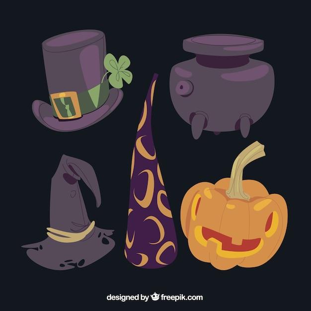 Variety of halloween magic elements
