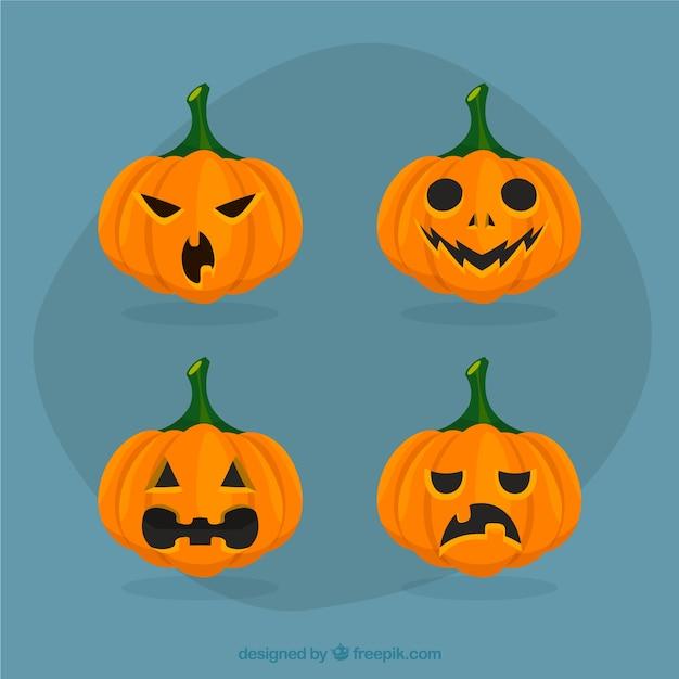 Variety of halloween pumpkin faces Vector | Free Download