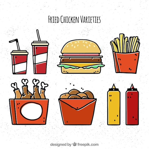 Variety of hand-drawn fried chicken