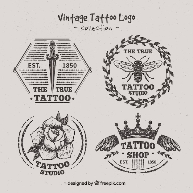 Variety of hand drawn tattoo logos vector free download for Hand tattoo download