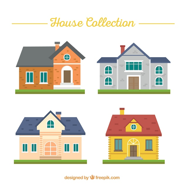Variety of house facades in flat design