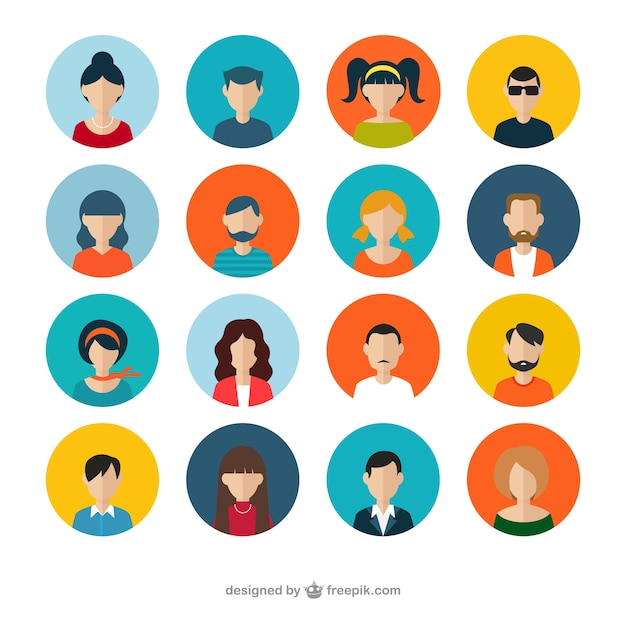 Variety of human avatars Free Vector