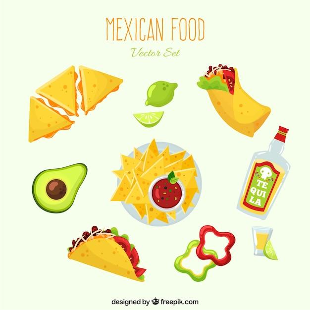 平らなdeisgnとメキシコの様々な料理 無料ベクター