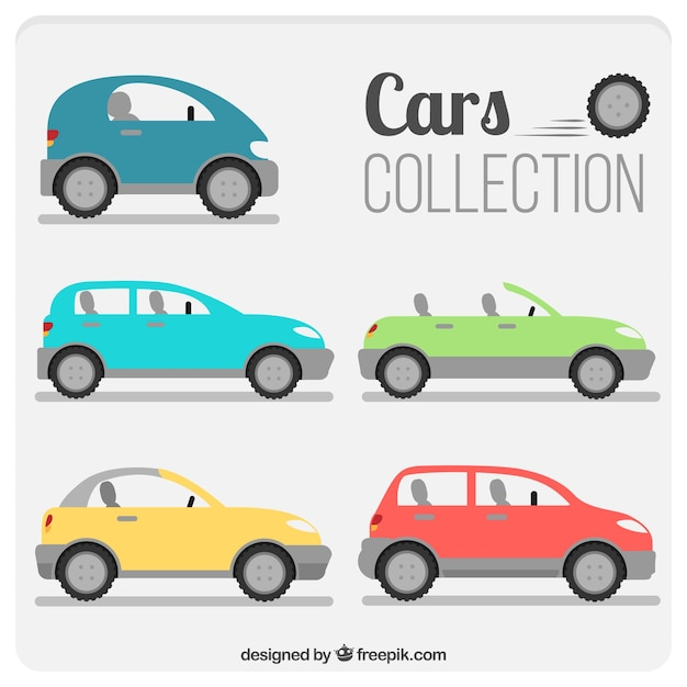 Variety of modern cars in flat design