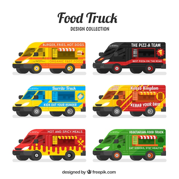 Variety of modern food trucks