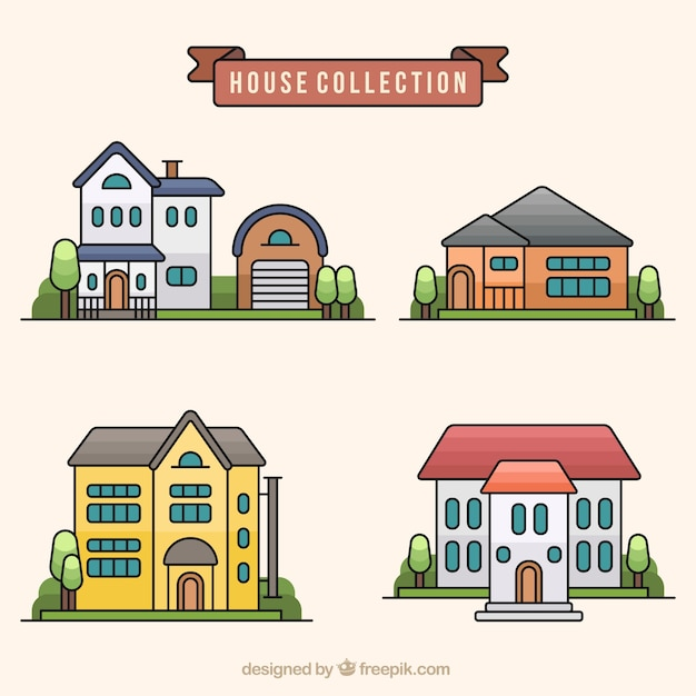 Variety of modern houses in flat design