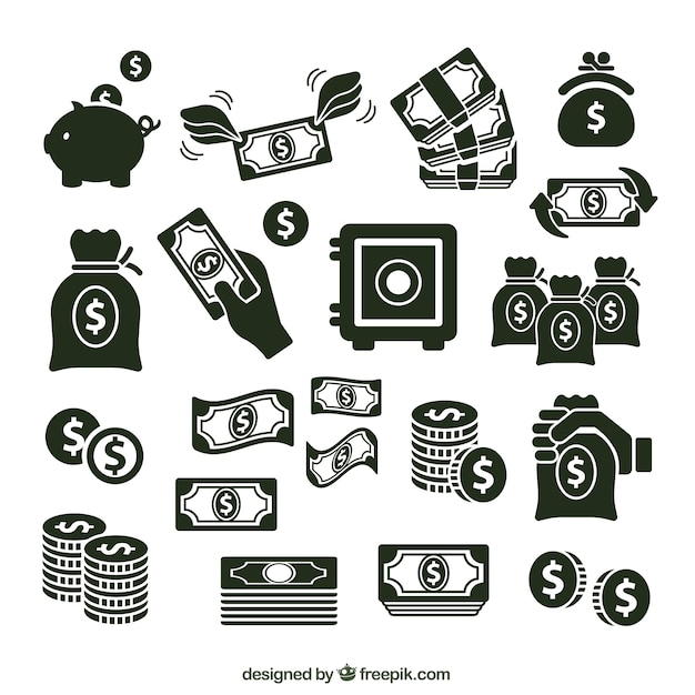 Variety of money icons Premium Vector