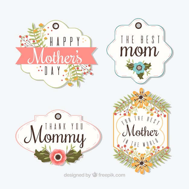 Variety of mother\'s day labels with pretty\ flowers