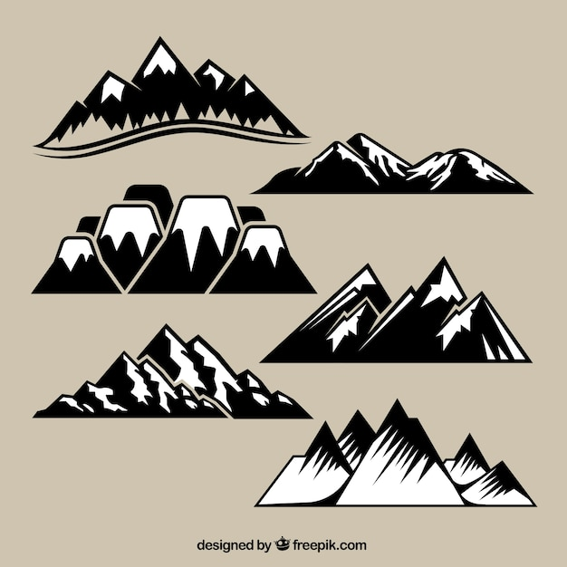 Variety of mountain range Free Vector