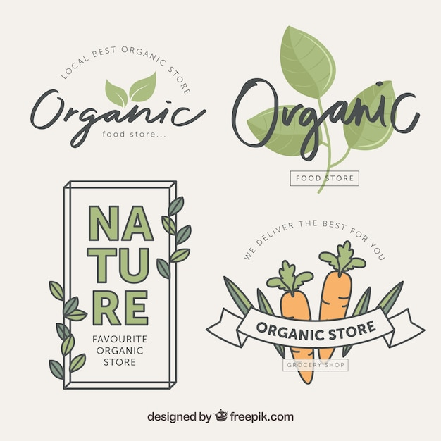 Variety of organic food labels in flat design Free Vector
