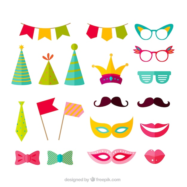 Variety Of Party Accessories Free Vector