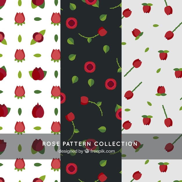Variety of patterns with red roses in flat\ design