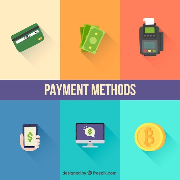 Variety of payment methods with flat design
