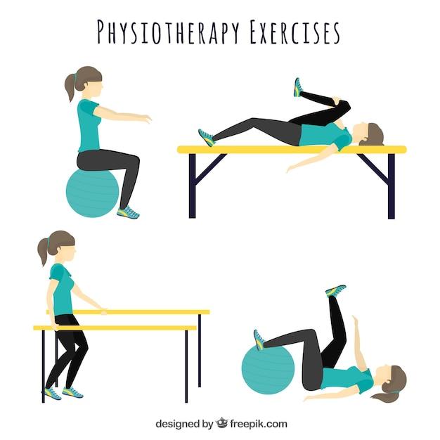 Разнообразие физиотерапевтических упражнений Бесплатные векторы