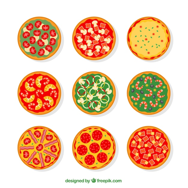Variety of pizzas Vector | Free Download
