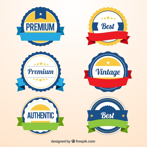 Variety of promotion badges Free Vector