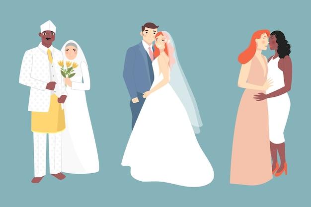 Разнообразие настоящей любви свадебных пар Premium векторы