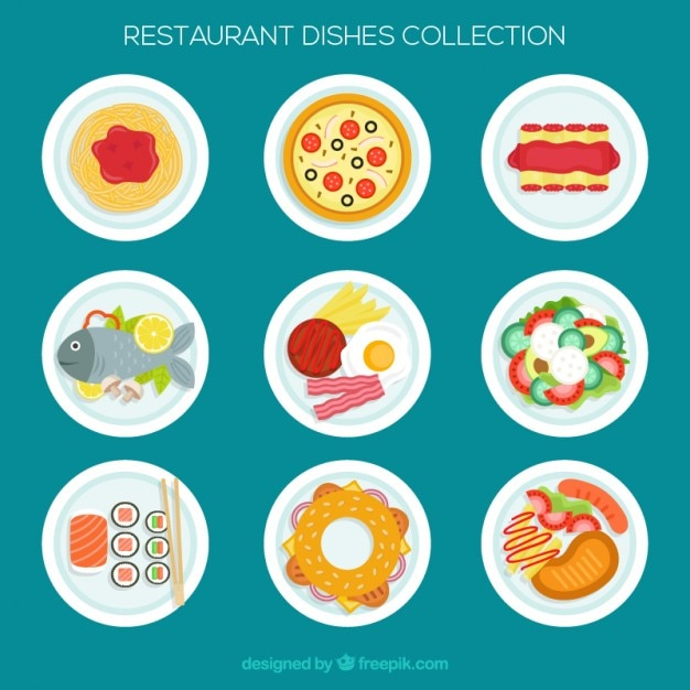 Variety of restaurant dishes in flat design