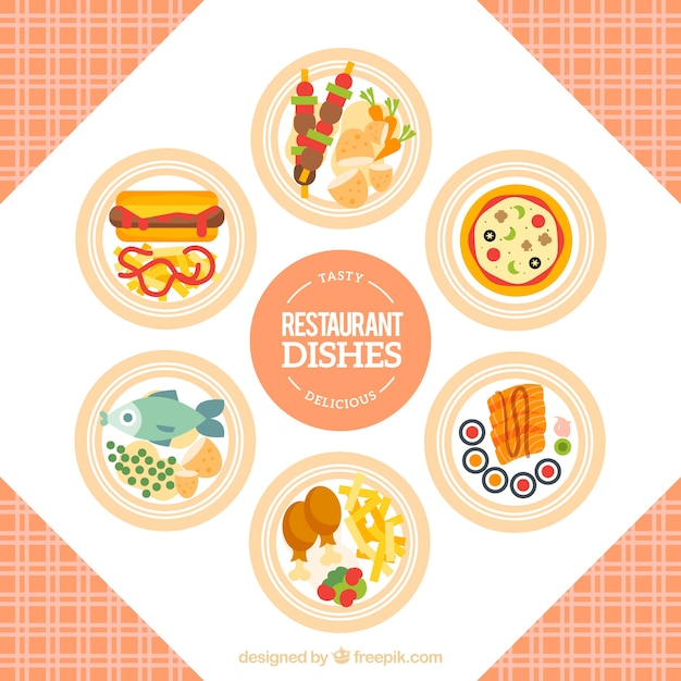 Variety of restaurant dishes in flat\ design