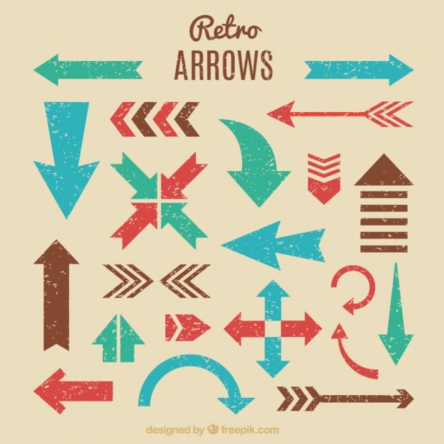 Variety Of Retro Arrows Premium Vector
