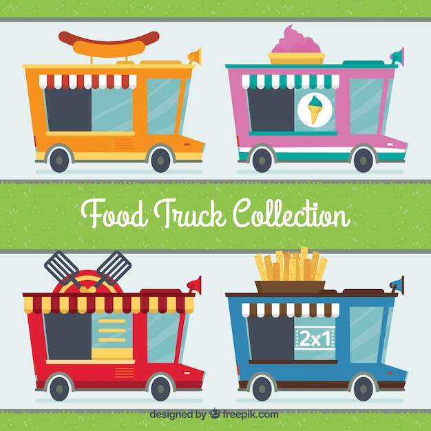 Variety of retro food trucks in flat\ style