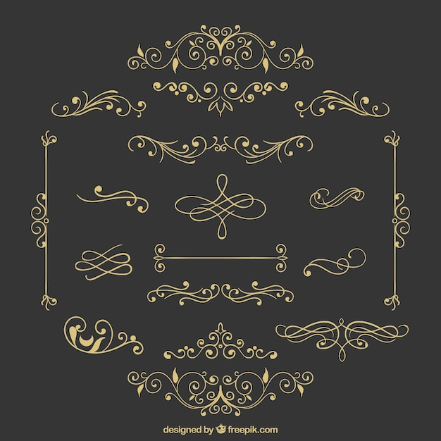 Variety of retro ornaments Free Vector