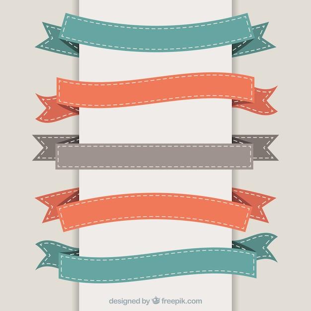 Variety of retro ribbons Premium Vector