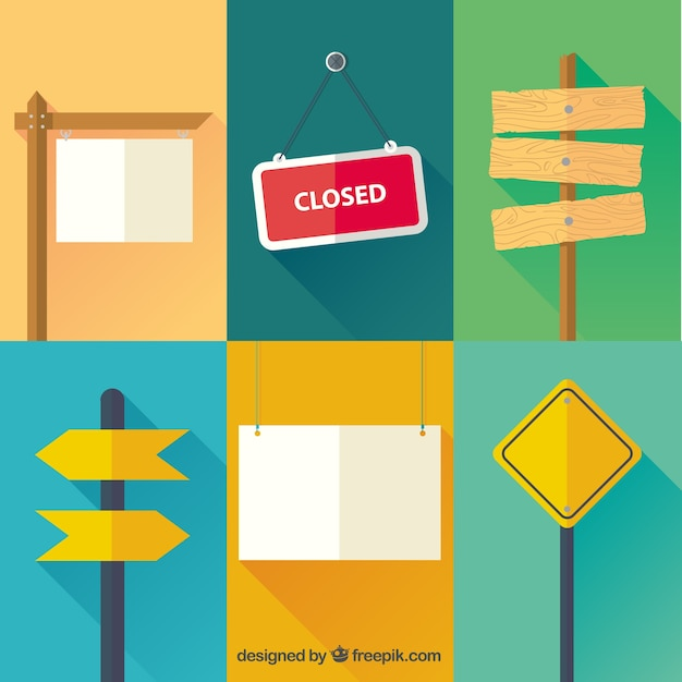 Variety of signs Free Vector