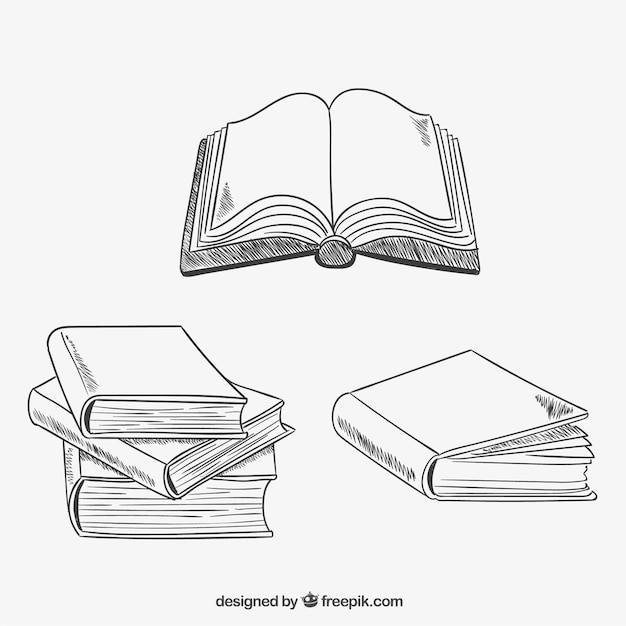 Variety of sketchy books Free Vector