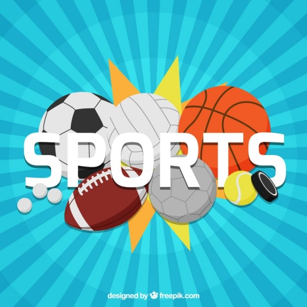 Variety of sport balls background