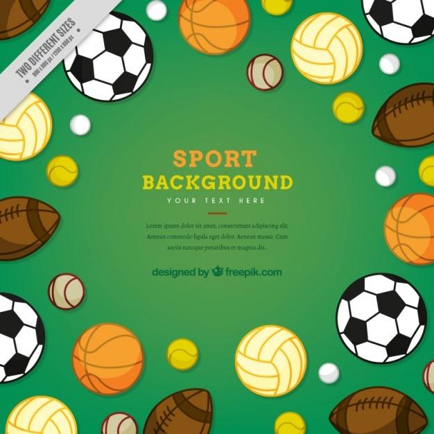 Variety of sporty balls background