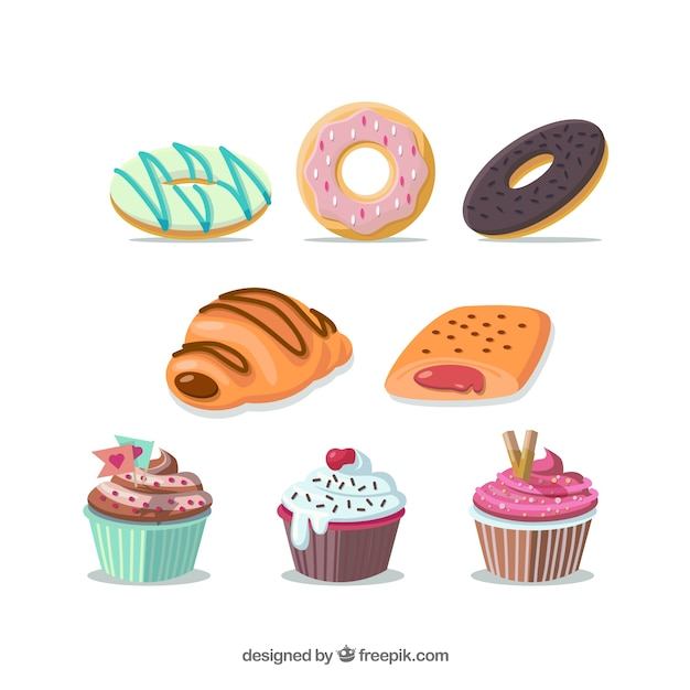 Variety of sweets illustration Free Vector
