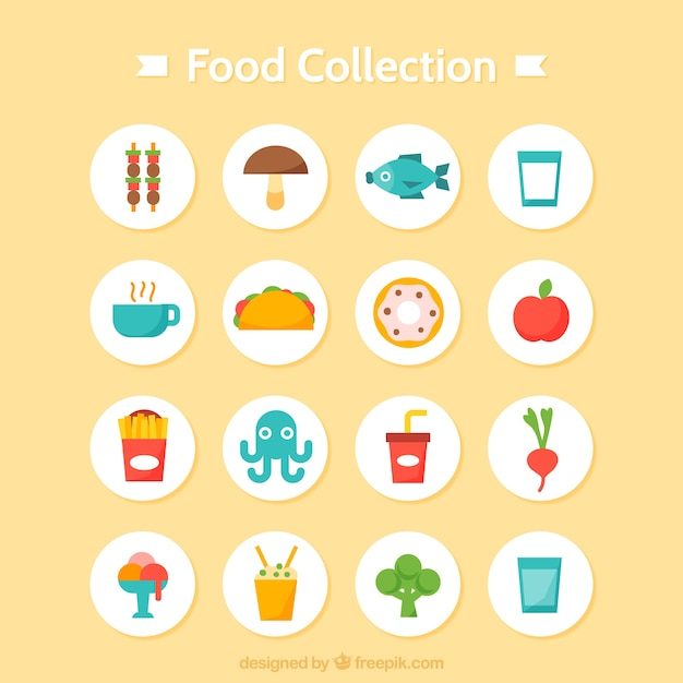 Variety of tasty food collection in flat design