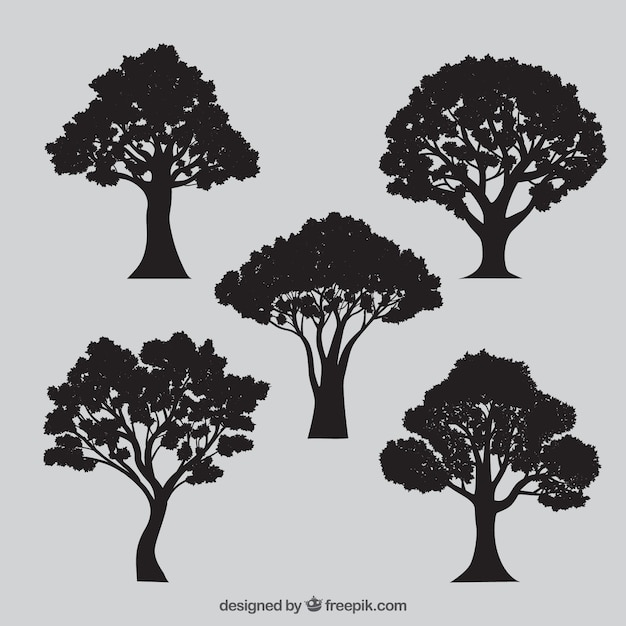 variety of tree silhouettes Free Vector