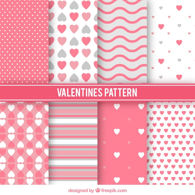 Variety of valentine patterns Free Vector