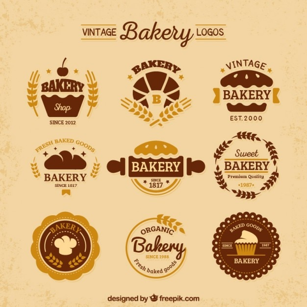 Variety of vintage flat bakery logos Free Vector
