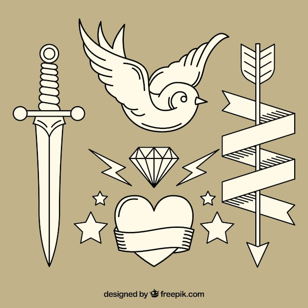 Variety of vintage hand drawn tattoos vector free download for Hand tattoo download