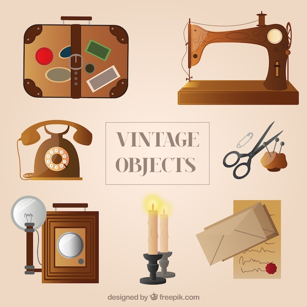 variety of vintage objects vector free download. Black Bedroom Furniture Sets. Home Design Ideas