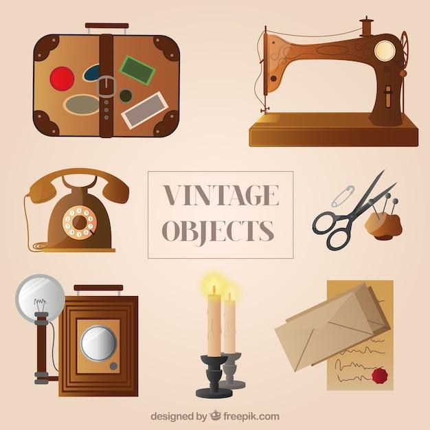 variety of vintage objects vector free download. Black Bedroom Furniture Sets. Home Design Ideas