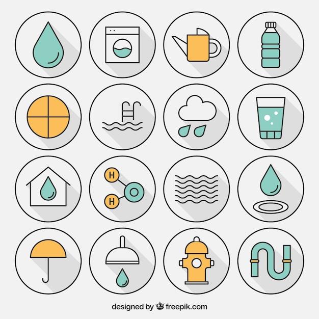 Разнообразие иконы воды Бесплатные векторы